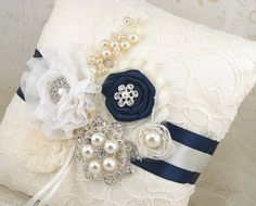 Ring Bearer Pillow Ivory Royal Blue Blue Cream Vintage by SolBijou