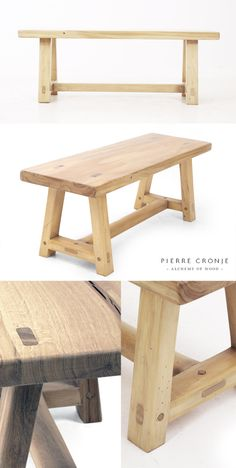 A Pierre Cronje 'Simply Pierre' A-Frame Bench in French Oak - 1200x400x450mm (LxWxH)