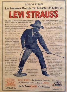 Levi Strauss vintage advertisement in Spanish. Cowboy.