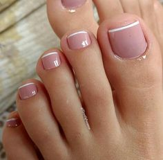 Toe nail designs, french pedicure designs, french tip pedicure, feet nail d Frensh Nails, Pink Toe Nails, Pretty Toe Nails, Toe Nail Color, Cute Toe Nails, Pink Toes, Feet Nails, Pedicure Nails, Toe Nail Art