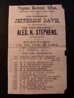 Civil War Virginia Electoral Ticket 1861 Jefferson Davis