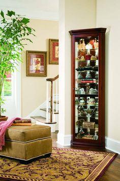 Madison Traditional Brown Wood Glass Corner Curio