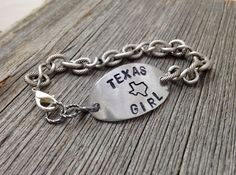 Texas Girl Bracelet - Handstamped State Outline - Jewelry by DuctTapeAndDenim
