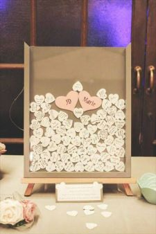 guest book shadow box idea. you can change the colors to match your wedding colors