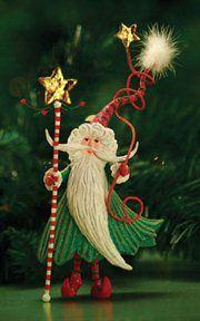 PATIENCE BREWSTER 08-30354: Patience Brewster Krinkles Santa Wizard Christmas Ornament
