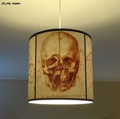 This skull lamp shade will be the perfect addition to any goth, steampunk or rock n roll decor and the cool original gift for any skull fan!  Height: 12 (30 cm) Diameter: 12 (30 cm)  (A discounted version with small defects is available here: https://www.etsy.com/listing/277543664/small-defect-leonardo-da-vinci-skull?) -------------------------------------------------------------  PLEASE NOTE: It can be made in smaller sizes to be used with a table lamp base for examp...