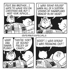 First Appearance: December 24th 1985 #peanutsspecials #ps #pnts #schulz #charliebrown #sallybrown #psst #bigbrother #hate #wakeyou #christmaseve #advice #soundasleep #sudden #visions #sugarplums #danced #head #round #pieces #candy #good #afraid #freakingout www.peanutsspecials.com Peanuts Cartoon, Peanuts Snoopy, Sally Brown, Peanuts Christmas, Charlie Brown And Snoopy, Positive Thoughts, Comic Strips, Vintage Christmas, Funny Quotes