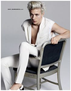 Lucky Blue Smith Dons White Tuxedo for Harper's Bazaar China Cover Shoot