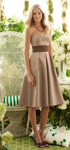 My bridesmaid dress with rose sash(not brown)
