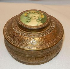 Vintage Brass Powder Box with Porcelain Cameo