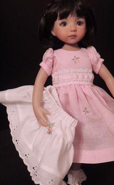 """Embroider Linen Dress 7 Slip- fits 13"""" Little Darling by Dianna Effner. Ends 3/23/15"""