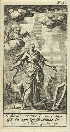 Jan Luyken | Vrouw met gespreide armen door hemellicht beschenen, Jan Luyken, Gijsbert de Groot, 1691 | Prent rechtsboven gemerkt: F. 145.
