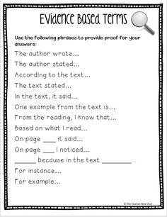 Sentence starters Text evidence sentence starters for students and lots of tips for teaching kids to cite text evidence in reading on Upper Elementary Snapshots: Citing Text Evidence in 6 Steps Reading Comprehension Skills, Reading Strategies, Reading Skills, Writing Skills, Essay Writing, Sentence Writing, Writing Process, Sentence Starters For Essays, Literary Essay