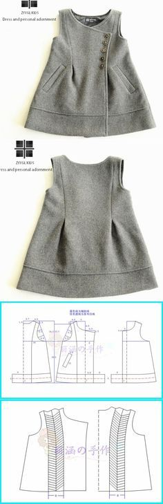 pattern interesting girls tunic dress or vest with side buttons - could steampunk idea easily