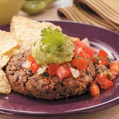 Cilantro Bean Burgers...These cilantro bean burgers are a tasty alternative to traditional beef burgers. Jazz things up with salsa and fresh guacamole.