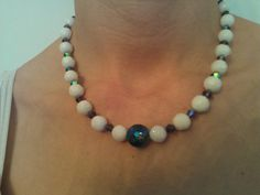 White Glass Bead Necklace with Blue and by TheBarefootBombshell, $30.00