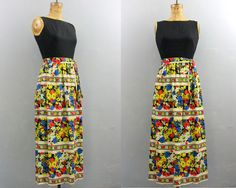 Maxi Dress 1960s / 1970s long dress / floral by VintConditionStyle, $52.00