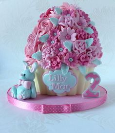 Lil Bunny Giant Cupcake for Lilly-Mae - by Truly Madly Sweetly Cupcakes @ CakesDecor.com - cake decorating website