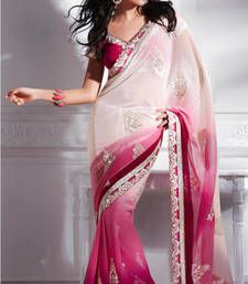 Buy Rani and white embroidered chiffon saree with blouse party-wear-saree online