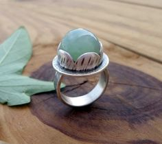 Chrysoprase sterling silver ring artisan silver by SelinofosArt