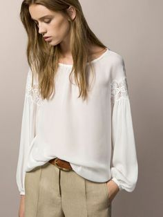 TOP WITH GUIPURE LACE Massimo Dutti