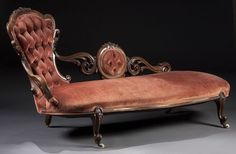 1233: VICTORIAN WALNUT ROCOCO CARVED CHAISE LOUNGE : Lot 1233