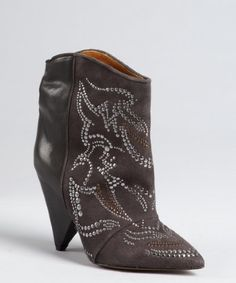 Isabel Marant ~ slate leather and suede studded 'Memphis' ankle boots
