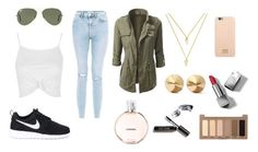 """""""Untitled #25"""" by valeriatrujillog on Polyvore featuring New Look, Topshop, Ray-Ban, Eddie Borgo, BaubleBar, NIKE, Urban Decay, Bobbi Brown Cosmetics, Chanel and Burberry"""