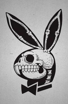 Playboy Bunny X-Ray Skull. Playboy Bunny Tattoo, Bunny Tattoos, Skull Tattoos, Kritzelei Tattoo, Tattoo Drawings, Art Drawings, Hase Tattoos, Skull And Bones, Dark Art