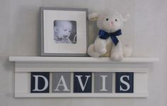 """Navy Blue and Grey Nursery Wall Decor / Room Decor - Personalized for Baby DAVIS, 24"""" Linen White Shelf with 5 Gray and Navy Wall Letters"""