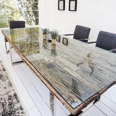 Esstisch BARRACUDA antik Teak Holz mit Stahl Kufenfüßen Holztisch Tische Holz  | eBay