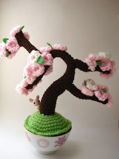 Windswept Spring - Amigurumi Cherry Blossom Bonsai Tree