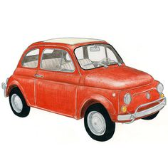 Fiat 500 drawing by Christine Berrie Illustration, via Flickr