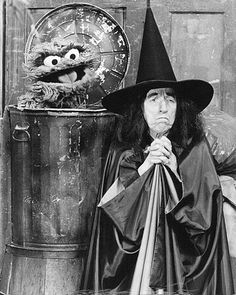Margaret Hamilton from The Wizard of Oz with Oscar the Grouch on Sesame Street -- more fun Sesame Street facts at my blog.