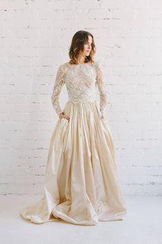 Bridal Skirts, Wedding Skirt, Long Sleeve Wedding, Perfect Wedding Dress, Wedding Dresses, Long Sleeve Lace Top, Taffeta Skirt, Silk Taffeta, Silk Skirt