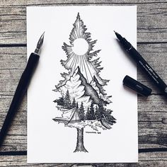 Except with birdseye as the mountain ❤ tattoo ideas idei tatuaje, t Sketch Tattoo Design, Sketch Design, Tattoo Sketches, Art Sketches, Art Drawings, Tattoo Designs, Pencil Drawings, Sketches Of Nature, Nature Drawing