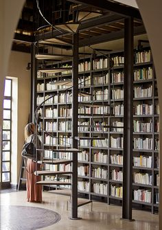 the beautiful spiral staircase in the library at the fellah hotel, marrakech by Shiny Thoughts. http://www.shinythoughts.net/ http://www.fellah-hotel.com/