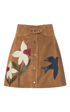 This suede **Red Valentino** skirt features a high rise with a built-in buckle detail at the front, a button-up design with leather macroflower appliques, and a mini length a-line silhouette. Suede Mini Skirt, A Line Mini Skirt, Mini Skirts, New Hijab, Brown Skirts, Mode Inspiration, Fashion Outfits, Womens Fashion, Valentino