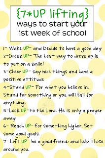 7*UP-lifting ways to have a good first week of school
