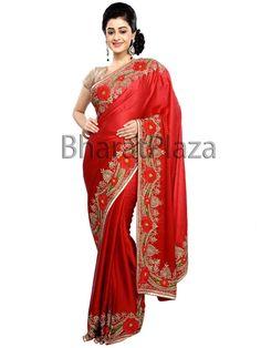 Phenomenal red color satin saree. Item Code: SKD5216