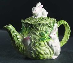 Our Teapot for our Poetry Teatime!  It reminds me of Peter Rabbit!