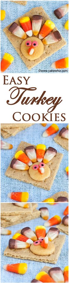 Easy TURKEY COOKIES that even kids can make, using store-bought stuff! From cakewhiz.com