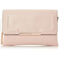 EMORY Fold Over Multiple Compartment Clutch Bag NUDE ❤ liked on Polyvore featuring bags, handbags, clutches, pink clutches, foldover purse, fold over purse, nude clutches and fold-over clutches