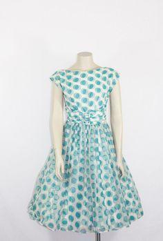1950s Vintage Party Dress  Novelty Print Turquoise and White Polka Dots Chiffon Wedding Reception Dress - Bridesmaid - Bridal Shower Frock Jonathan Logan by VintageFrocksOfFancy, $240.00