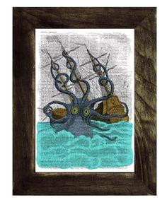 Colorful Giant Sea Monster Kraken Octopus Print on Vintage Encyclopedic Dictionary Book art. $7.99, via Etsy.
