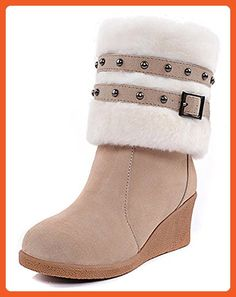 Women's Fashion Round Toe Platform Wedge Heel Removable Strap Studs Mid Calf Warm Boots