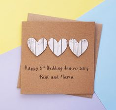 5th anniversary card Wood wedding anniversary card Handmade | Etsy Anniversary Cards For Couple, 5th Wedding Anniversary, Happy Anniversary, Romantic Cards, Hand Logo, Wedding In The Woods, Heart Cards, Valentine Day Cards, Gifts For Husband
