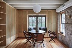 Workstead's Carriage House features splattered brickwork walls