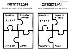 these are cute exit tickets. Made into a look like puzzle, but students have to figure out four different problems and turn it in as they leave the classroom.  Could use this template but do different problems in the puzzle pieces.
