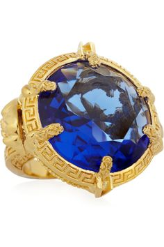 Versace | Oversized gold-plated crystal ring | NET-A-PORTER.COM